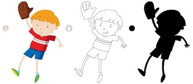 Menino jogando beisebol com seu contorno e silhueta