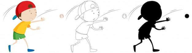 Menino jogando beisebol na cor e contorno e silhueta