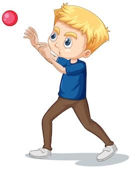Menino jogando bola no isolado