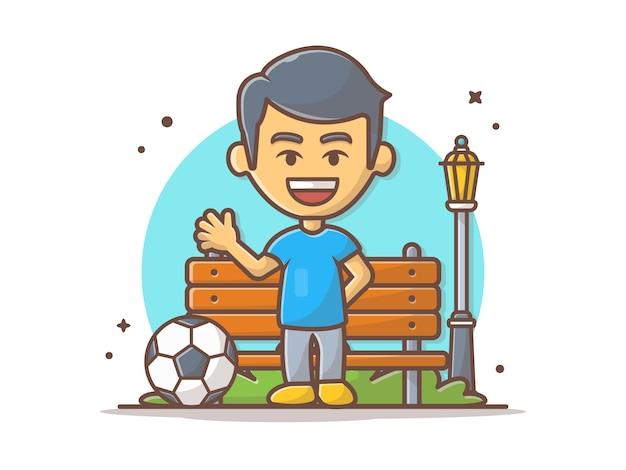 Menino jogando futebol na ilustração vetorial de parque