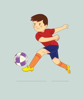 Menino jogando futebol personagem