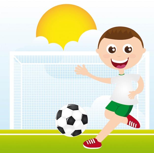 Menino jogando futebol sobre ilustração vetorial de grama