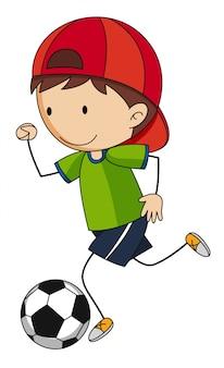 Menino jogando futebol