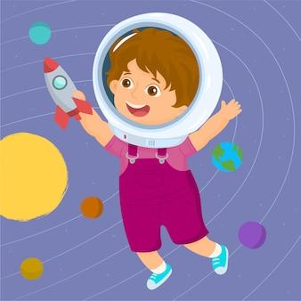 Menino jogando para ser um astronauta