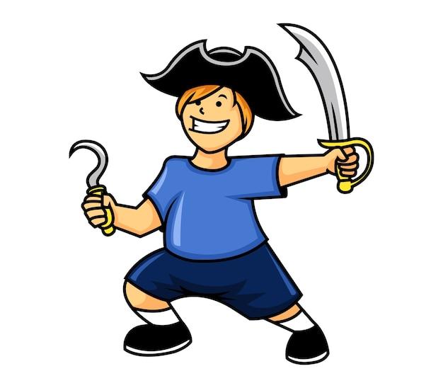 Menino, jogando pirata