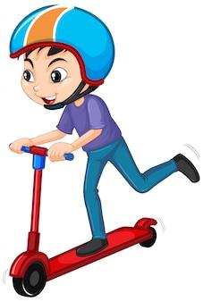 Menino jogando scooter em branco