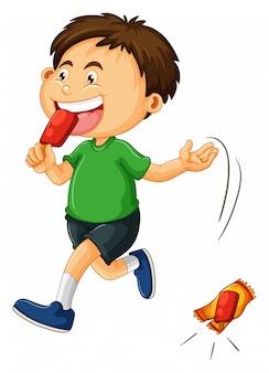 Menino jogando sorvete saco