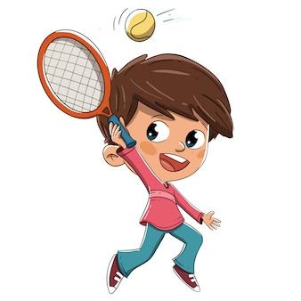 Menino, jogando tênis, com, um, raquete