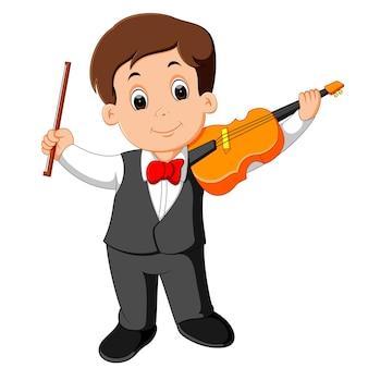 Menino, jogando violino