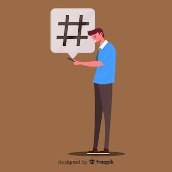 Menino jovem, com, hashtag, símbolo