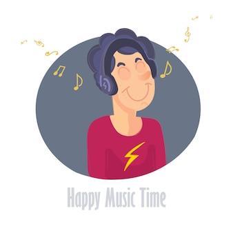 Menino jovem, escutar música, vetorial, ilustração