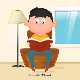 Menino jovem, leitura, apartamento, desenho