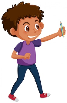 Menino jovem, segurando, lápis