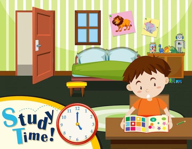 Menino jovem, tempo estudo