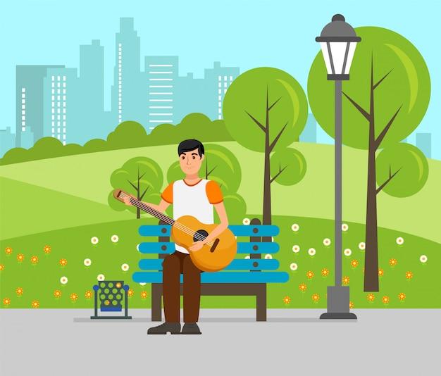 Menino jovem, tocando, guitarra, vetorial plana, ilustração