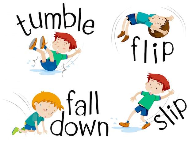 Menino lançando e caindo