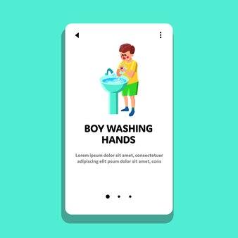 Menino lavando as mãos na pia, procedimento de higiene