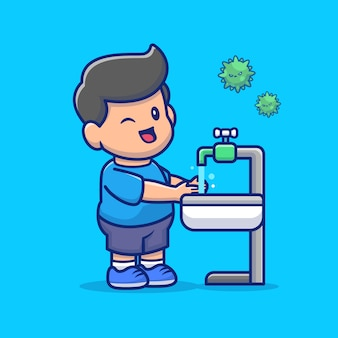 Menino lavando mão icon ilustração. personagem de desenho animado de mascote de pessoas saudáveis.