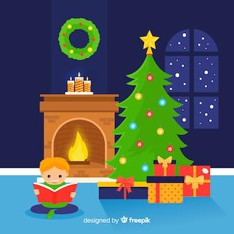 Menino, leitura, natal, ilustração