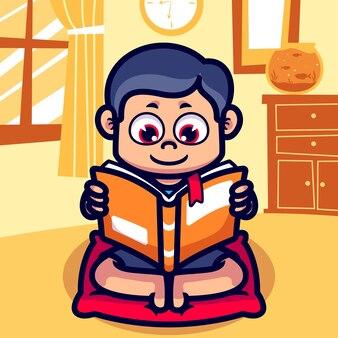 Menino lendo cartoon livro