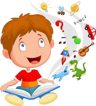 Menino lendo ilustração de conceito de livro educação