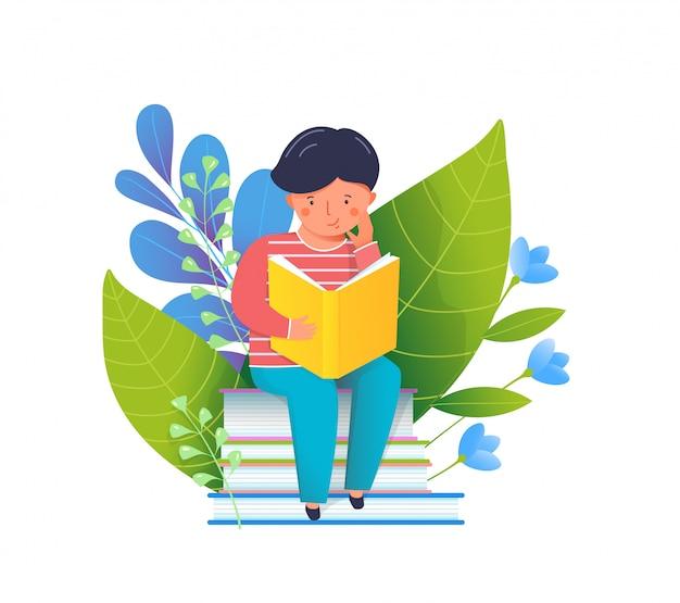 Menino lendo ilustração plana de livro