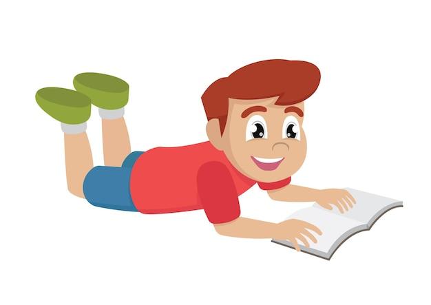 Menino lendo livro deitado