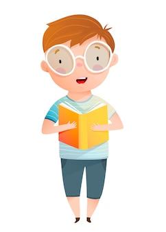 Menino lendo livro em voz alta, personagem escolar fofo segurando o livro aberto