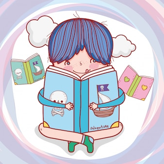Menino, ler, livro, literatura, com, nuvens