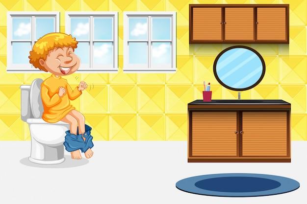 Menino, levando, a, banheiro