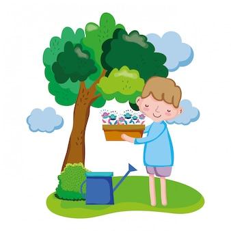 Menino, levantamento, houseplant, com, irrigador, em, a, paisagem