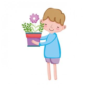Menino, levantamento, houseplant