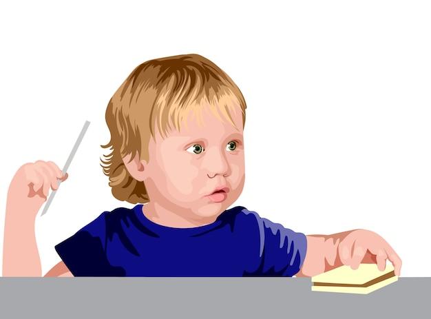 Menino loiro com olhos verdes em uma camisa azul parecendo surpreso enquanto segura um canudo e um sanduíche