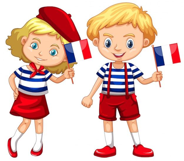 Menino menina, com, bandeira, de, frança