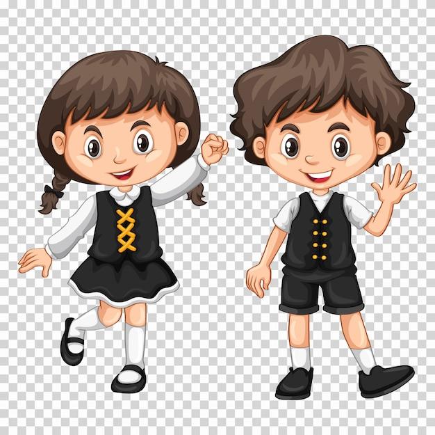 Menino menina, com, cabelo preto