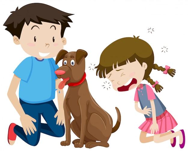 Menino menina, com, cão