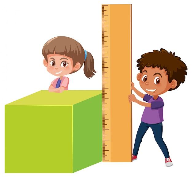 Menino menina, com, matemática, ferramentas