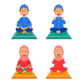 Menino, menina, criança, muçulmano, oram e leem no tapete de oração