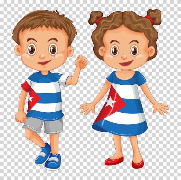 Menino menina, desgastar, camisas, com, bandeira cuba