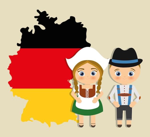 Menino menina dos desenhos animados casal bandeira traje tradicional ícone