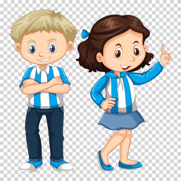 Menino menina, em, azul, traje
