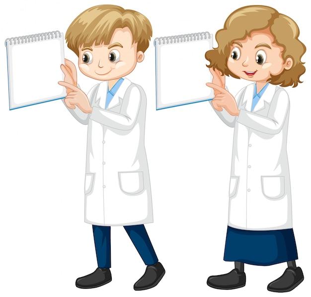 Menino menina, em, ciência, vestido, ficar, branco