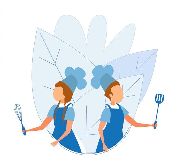 Menino menina, em, cozinheiro uniforme, ficar, com, utensílio