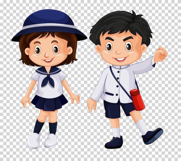 Menino menina, em, uniforme escola