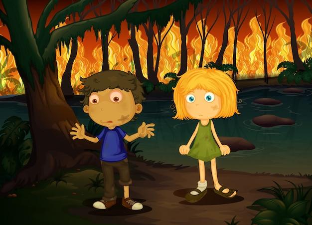 Menino menina, em, wildfire, floresta