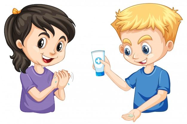 Menino menina, lavando mãos, usando, gel mão