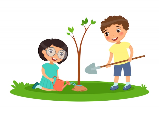 Menino menina, para, plantar, e, aguando, árvores