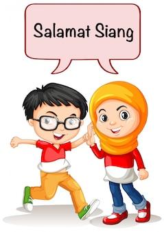 Menino menina, saudação, em, indonésio, língua