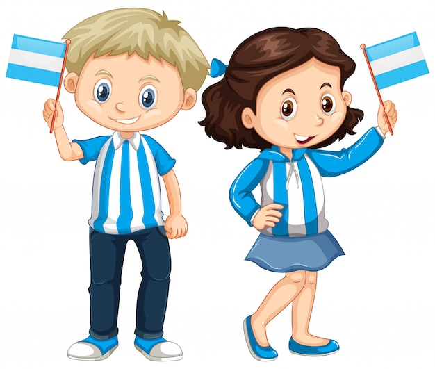 Menino menina, segurando, bandeira argentina