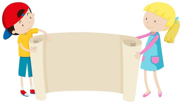 Menino menina, segurando papel